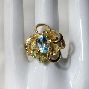 Blue Topaz Vermeil Sterling Silver Ring